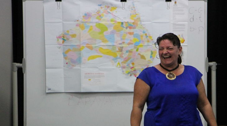 Aunty Jacinta Tobian teaches Aboriginal language in Sydney, Australia (Photo: Jarni Blakkarly)