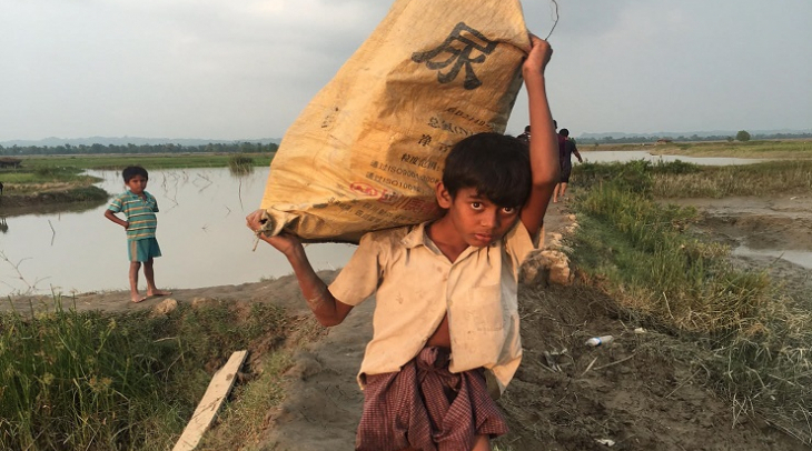 A Rohingya boy at a camp in Bangladesh, after fleeing his home in Myanmar. (Photo: Shakil Ahmed)