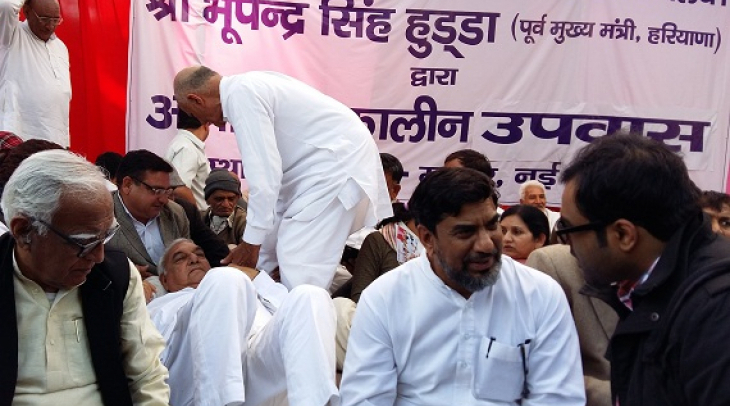 Political leaders from Haryana on a hunger strike in New Delhi demanding restoration of peace and no