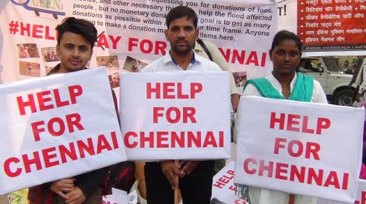 Volunteers in New Delhi collecting relief material for Chennai's flood affected people. (Photo: Bism
