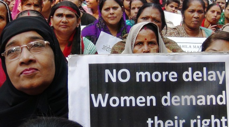 Women's groups protest in New Delhi demanding Parliamentary quota for women. (Photo: Bismillah Geela