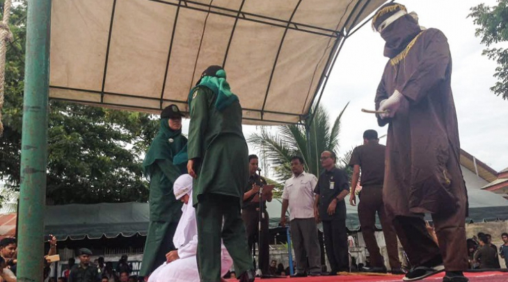 The public caning in Aceh on 16 May 2017, in which 10 people were punished according to Aceh's shari