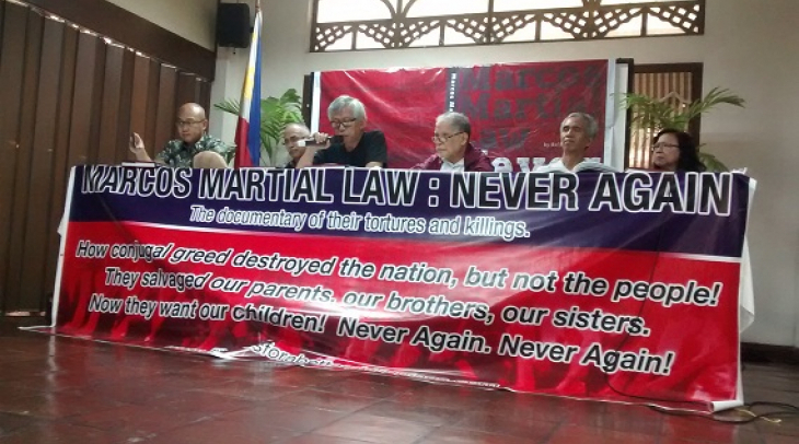The panel during the book launching of Marcos Martial Law Never Again, along with the book author Ra