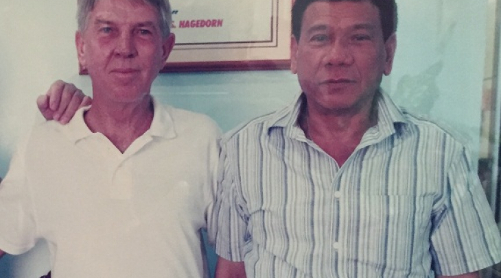 The photo of presidential candidate Rodrigo Duterte (right) with his good friend Butch Chase is hang