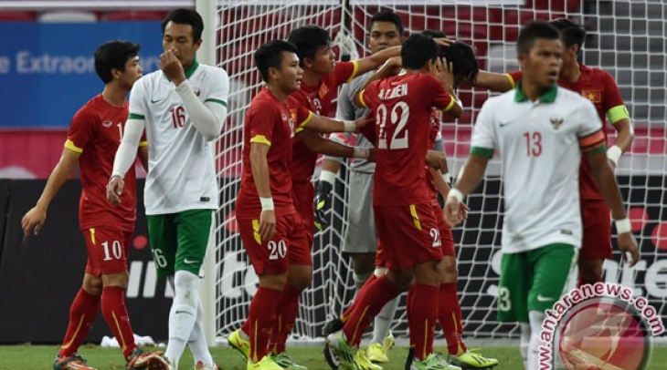 Pertandingan Indonsesia VS Vietnam di Sea Games 2015. Foto: Antara