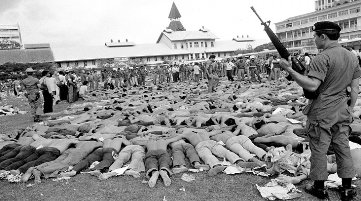 Thai students arrested after the massacre that killed 46 of them on the morning of  October 6, 1976