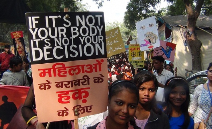 Protest for women's rights in New Delhi. (Photo: Bismillah Geelani)