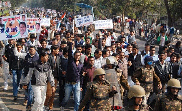 People protested relating to medical school exam scam in India. (Photo: Shuriah Niazi)