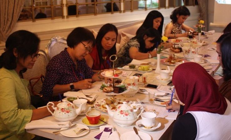 Participants at a travel writing workshop in Jakarta, organised by sexual violence advocacy organisa