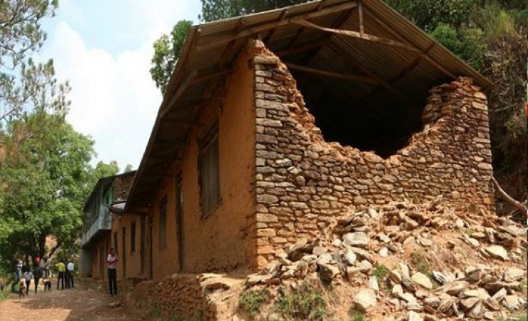 One of collapse schools in Dhading, one of the worst affected areas. (Photo: Rajan Parajuli)