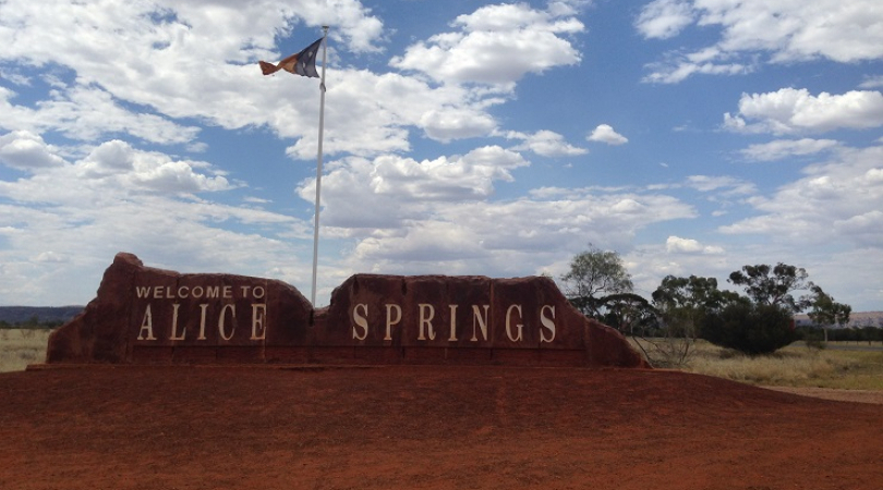 Welcome to Alice Springs sign, signs in the middle of Todd Mall (Town Center). (Photo: Dina Indrasaf