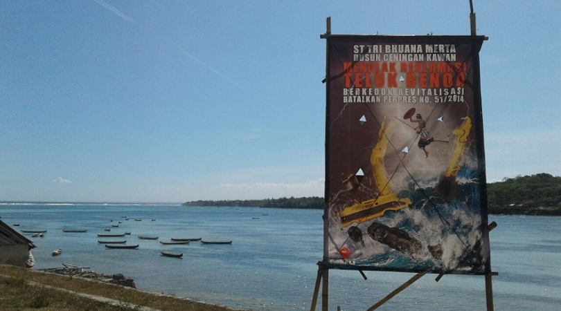 A sign in Nusa Lembongan, South Bali reveals local opposition to the proposed Benoa Bay mega-tourism