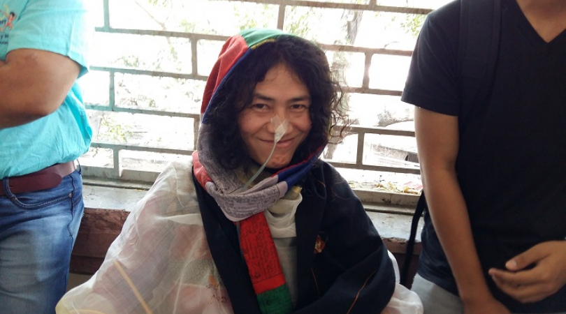 Irom Sharmila with the nasal tube that symbolised her epic hunger strike (Photo: Bismillah Geelani)