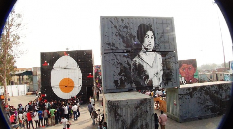 Using shipping containers as canvas at New Delhi's Street Art Festival. (Photo: Bismillah Geelani)