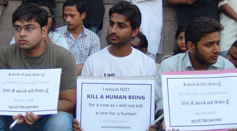 Protest in New Delhi against the lynching of a Muslim man over rumours of beef eating. (Photo: Bismi