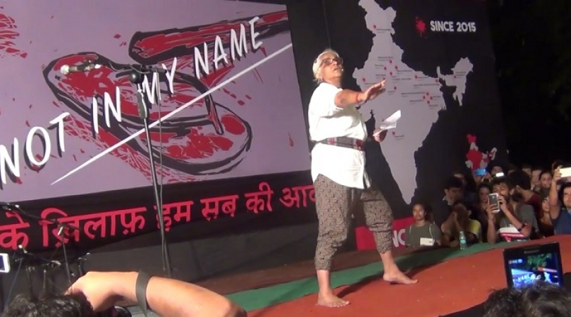 Arts Maya Krishna performing a monologue that shines a light on the violence carried out by cow vigi