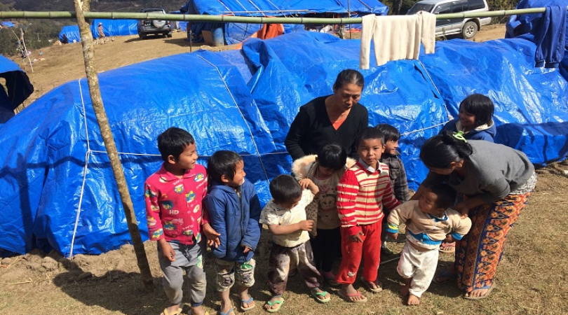 Internally displaced children were forced from China back to Myanmar. They lived without shelter for