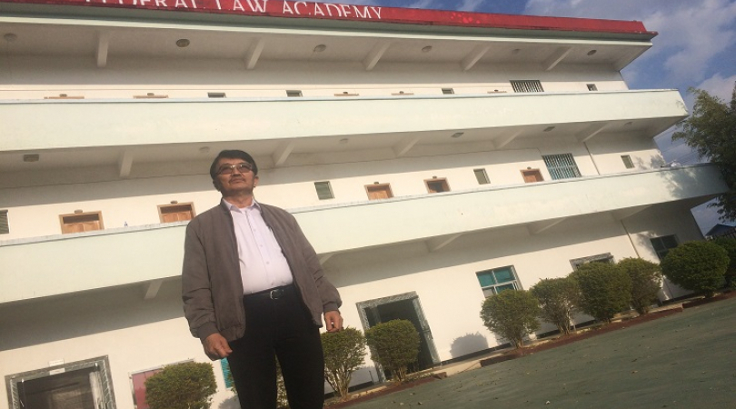 Lawyer Aung Htoo at the Federal Law Academy, in Mai Ja Yang, Kachin State, Myanmar. (Photo: Kannikar