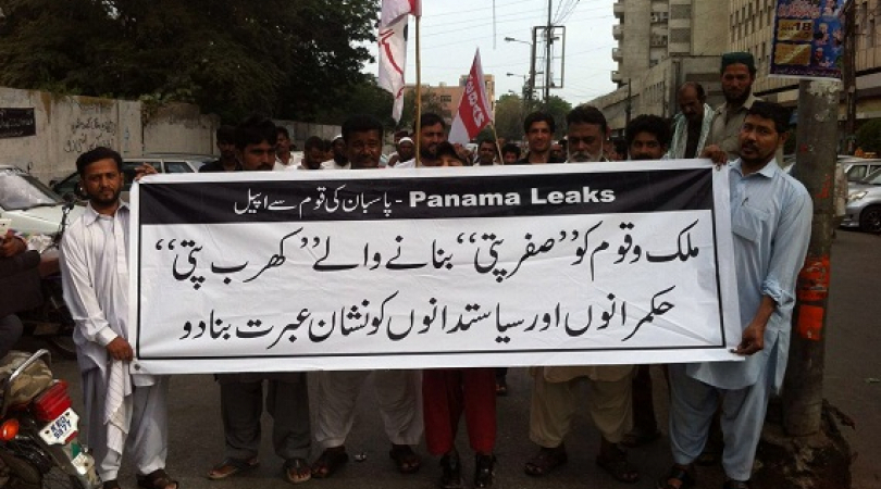 A group of protesting social activists demand action against corrupt political leaders after Panama