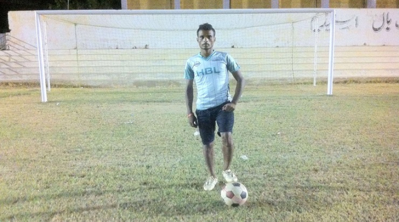Mehr Ali, 18 year old Pakistani, who won the 'Player of Series' title in the Street Children's Footb