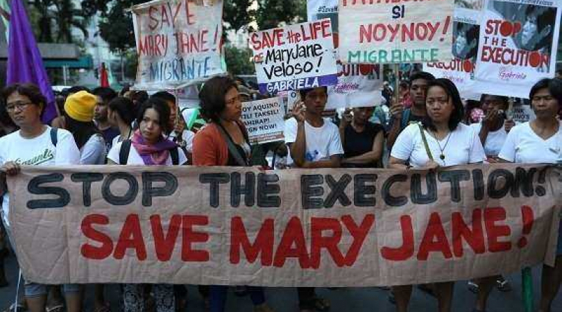 Mary Jane Veloso rally at indonesian embassy in the Philippines April 28, 2015. (Photo: Madonna Viro