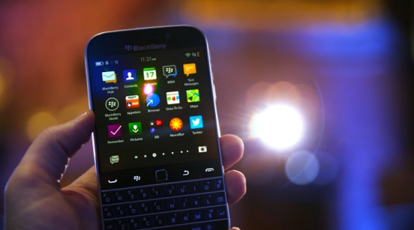 Tampilan depan ponsel Blackberry (Foto: Techcrunch)